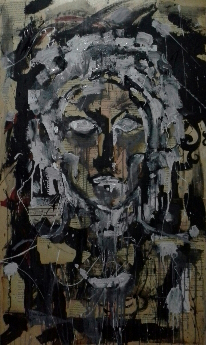 Painting-24 x 41 mixed media on wood-end of statement-2014
