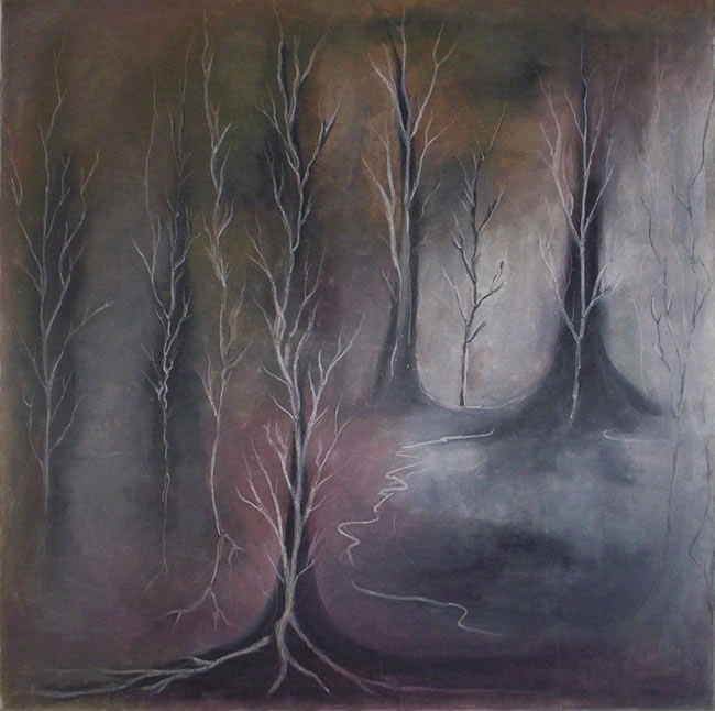 "ART-36""x36"" pastel on canvas ""black sun park"" 1998"